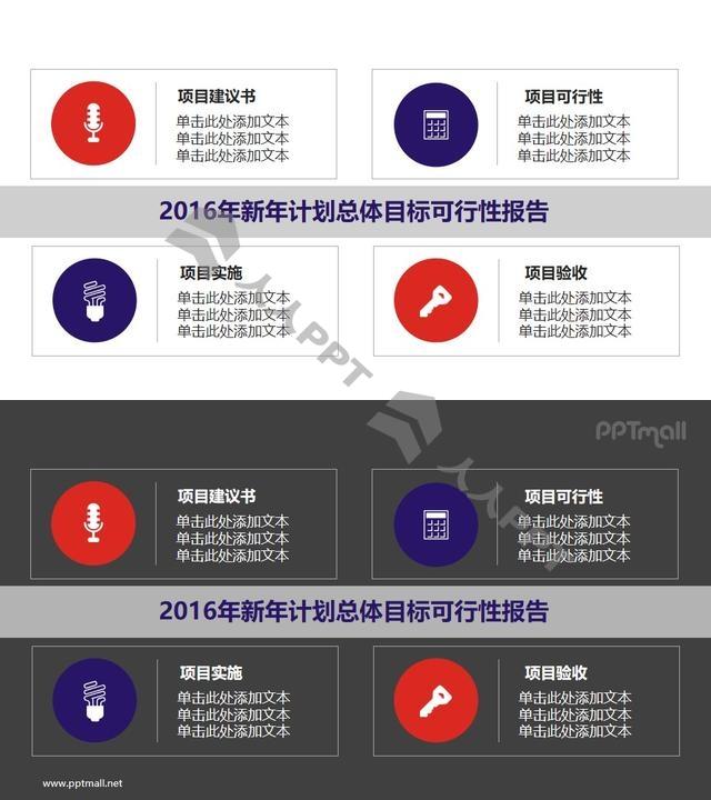 新年计划总体目标可行性报告PPT素材模板长图