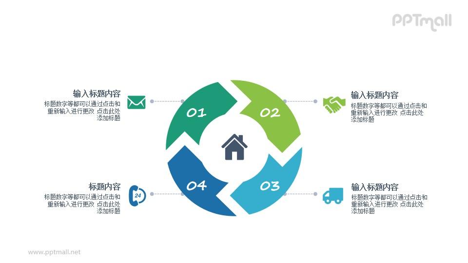 4部分循环图PPT图示素材