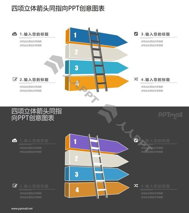 梯子爬上立体柱状图PPT图示素材长图