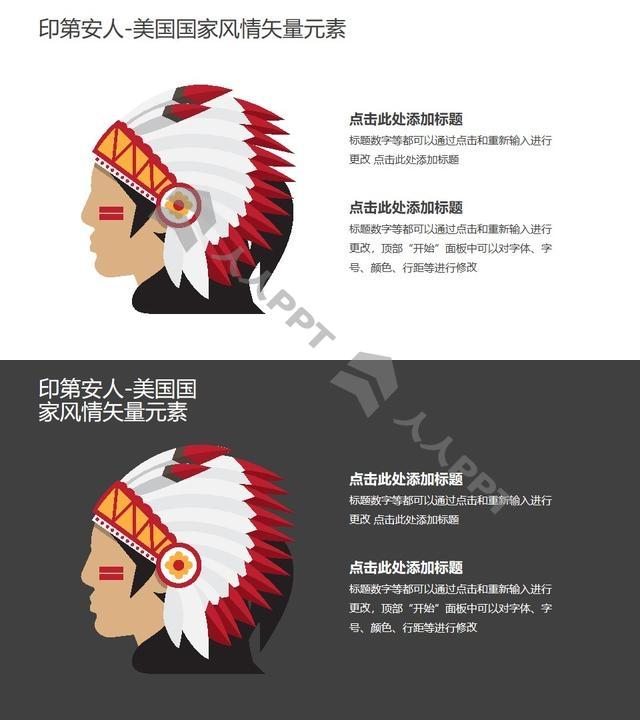 印第安人-美国国家风情PPT图像素材长图