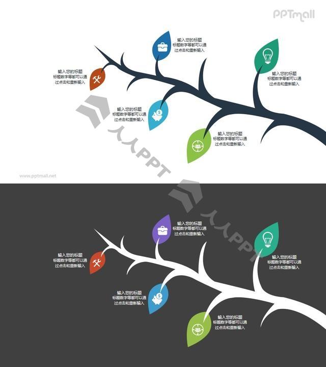 树枝和枝叶的PPT图示素材长图