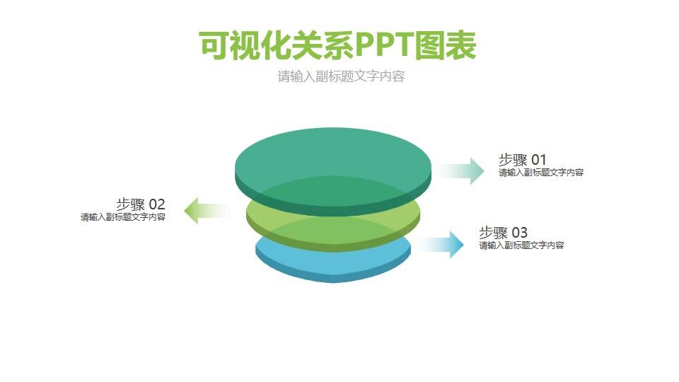 三个立体圆饼PPT图示