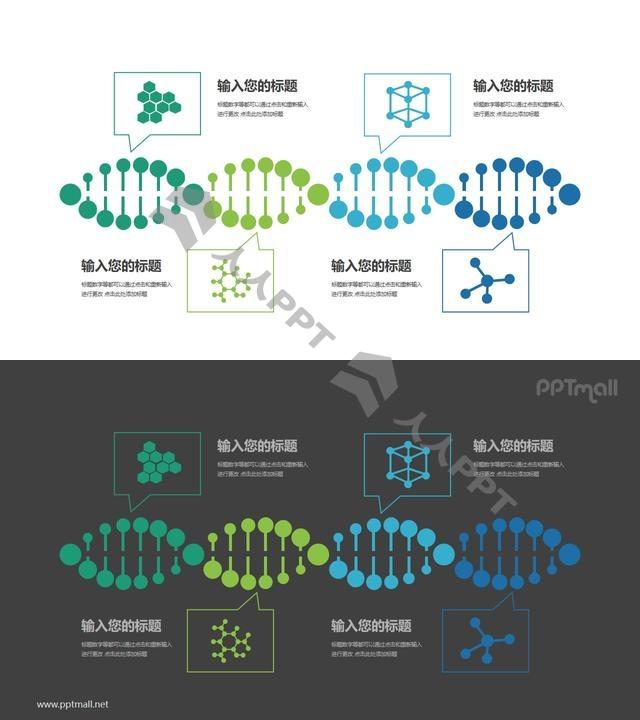 基因序列生物医学并列关系PPT模板图示长图