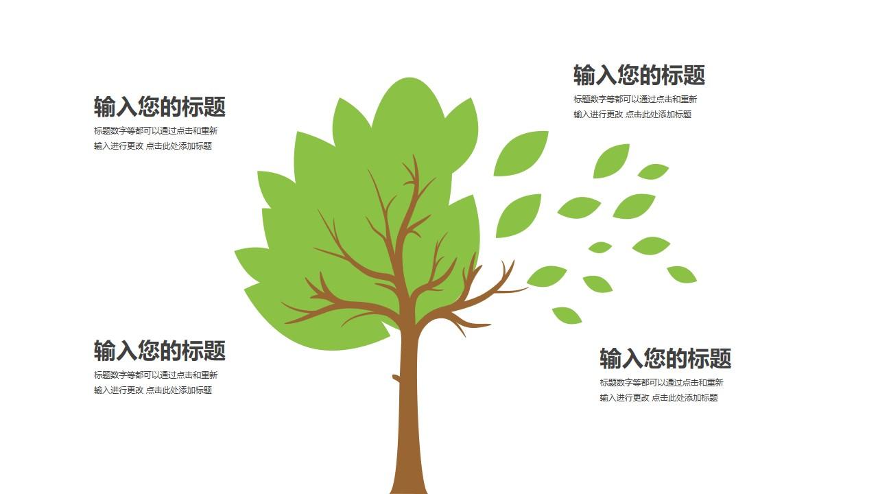 树和落叶四部分文本说明PPT模板图示