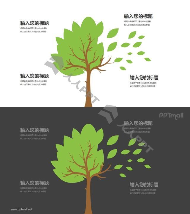 树和落叶四部分文本说明PPT模板图示长图