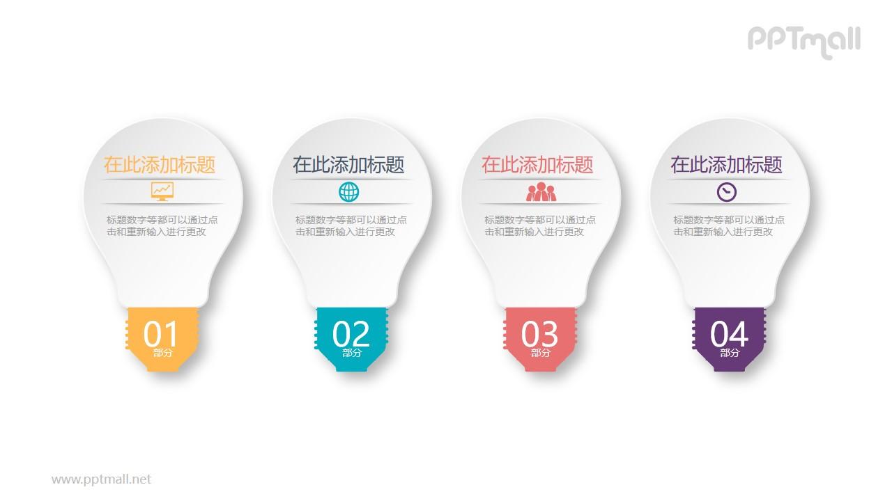 四个并列的灯泡目录PPT模板图示