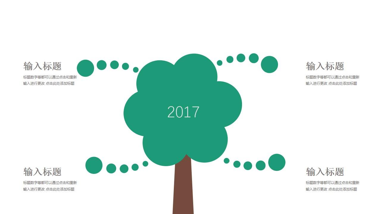 树叶向外延展的树年度总结PPT模板图示