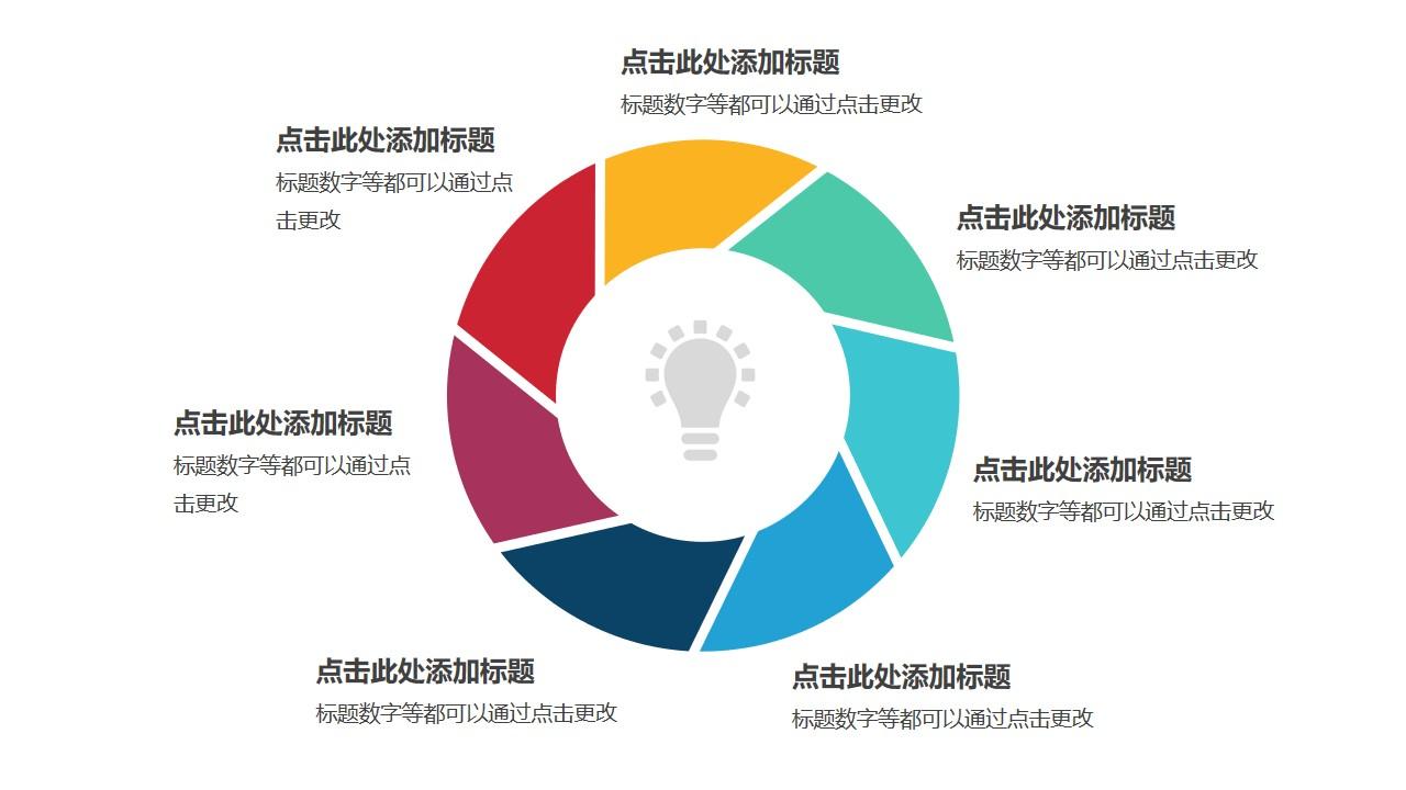 7部分拼图彩色空心圆循环关系逻辑图
