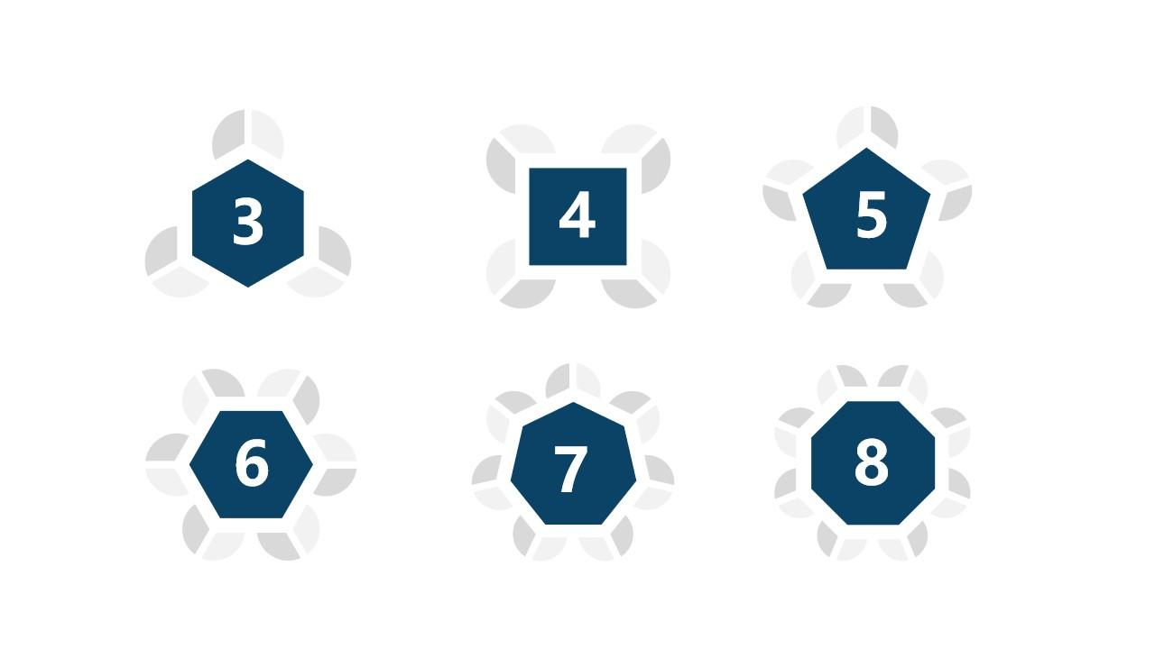 6组蓝灰色花瓣拼图并列关系逻辑图PPT模板