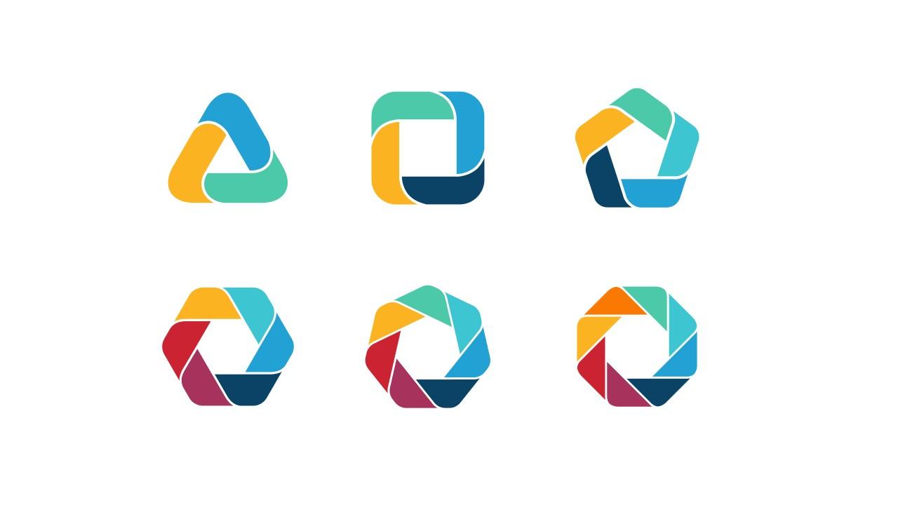 6组彩色拼图组成多边形并列关系关系逻辑图PPT模板
