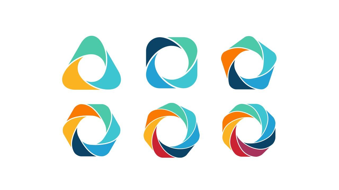 6组彩色花瓣样式的拼图循环关系逻辑图PPT模板