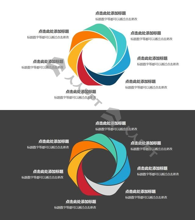 7部分彩色拼图组成的花瓣循环关系逻辑图PPT模板长图