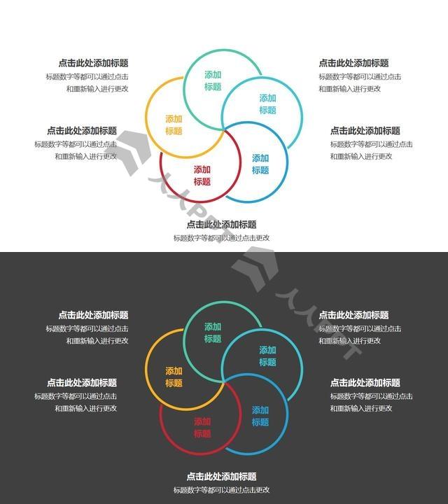 5个彩色圆形组成的花瓣图案循环关系逻辑图PPT模板长图