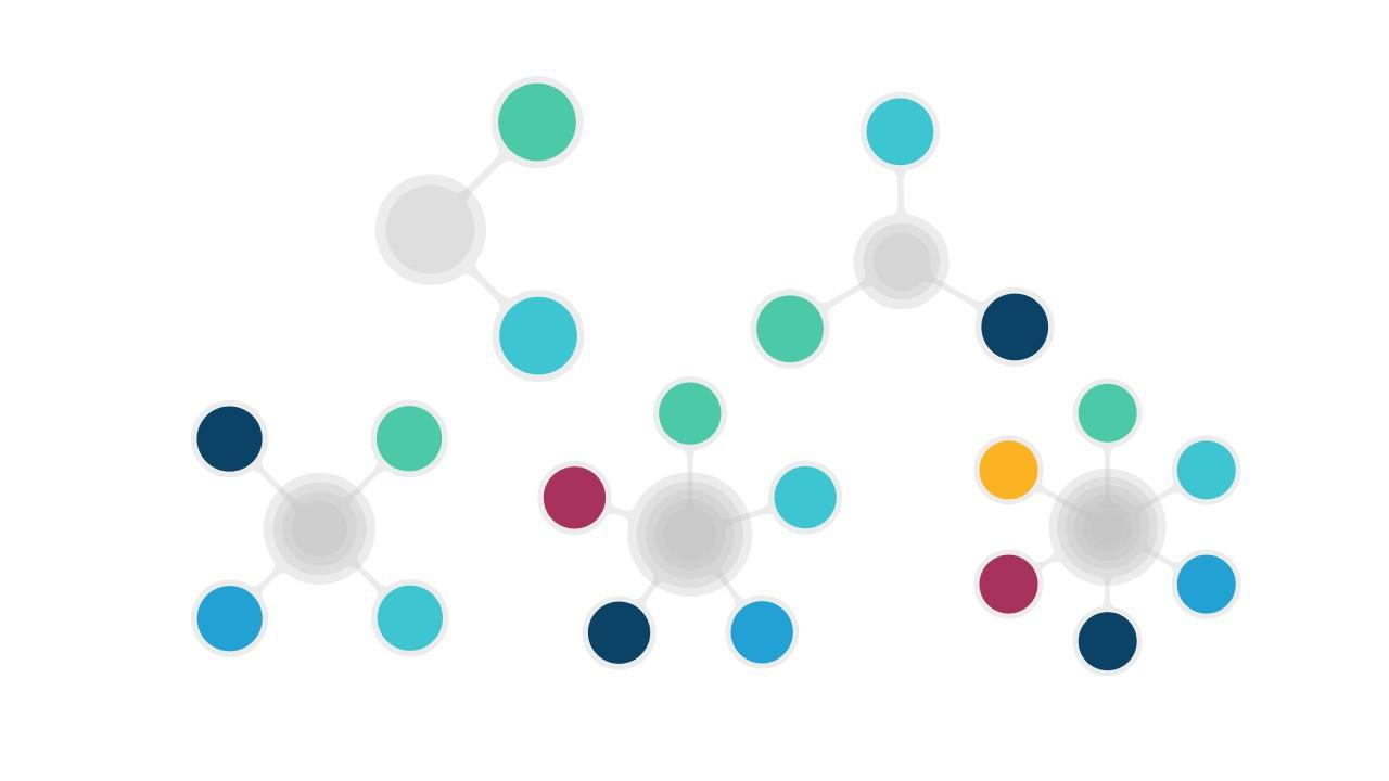 5种圆形图片连接的并列关系逻辑图PPT模板