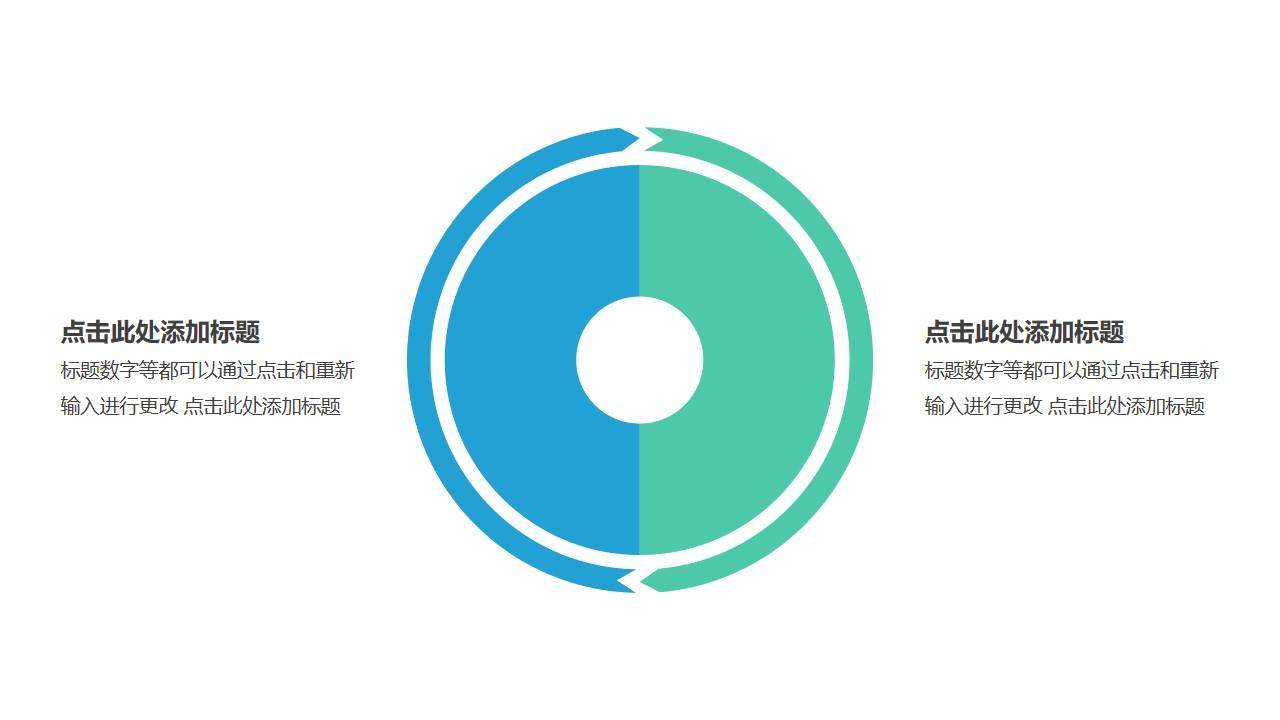 2部分饼图外的箭头循环关系逻辑图PPT模板