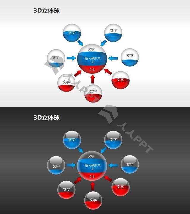 7合一总分关系的小球PPT模板长图